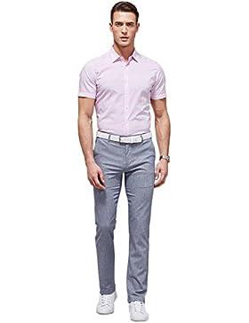 Hombres Moda camisa de manga corta camisas de negocios casual cómodo solapa