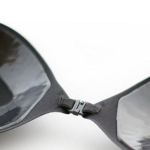 Boolavard® TM selbst haftende Silikon unsichtbar Push-up rückenfreie BH ohne Träger Oval Black