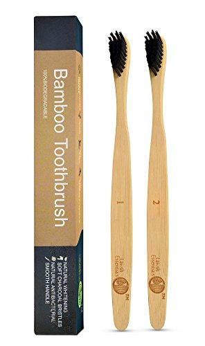 Lavish Essentials - Confezione da 2 spazzolini da denti biodegradabili in bamboo | Ergonomico e Vegano | Setole morbide infuse con carbone vegetale (2)