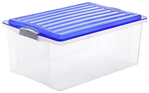 Preisvergleich Produktbild Rotho Aufbewahrungskiste COMPACT transparent mit Deckel in blau, Lager Box aus Kunststoff im DIN A3 Format, Inhalt 38 Liter, Plastikkiste ca. 57 x 40 x 25 cm