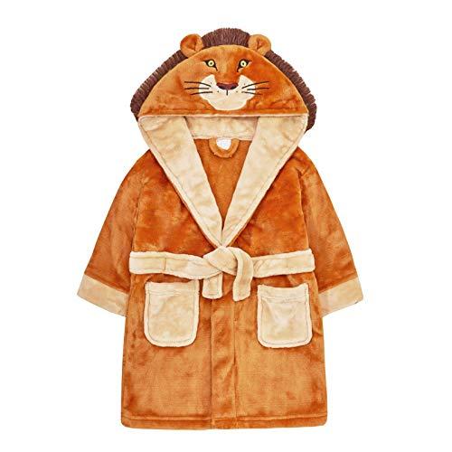 Albornoz con Capucha y Forro Polar para niños, diseño de león en 3D Marrón marrón 2-3 Años