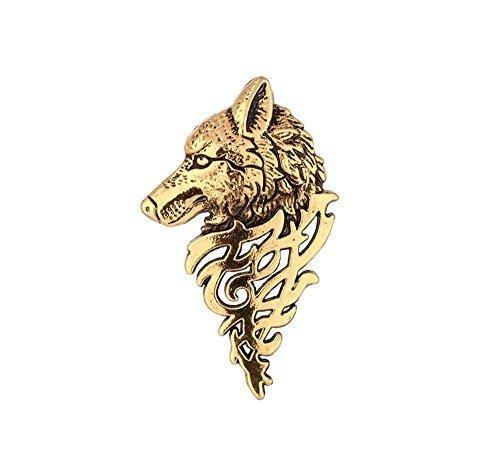 Brosche Reverskragen Wolf-Kopf im Profil, goldfarben Vintage (Wolf Hut Kostümen)