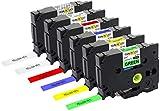 Yellow Yeti 6 Schriftbander TZe-131 TZe-231 TZe-431 TZe-531 TZe-631 TZe-731 12mm x 8m schwarz auf transparent weiß rot blau gelb grün Etikettenbänd kompatibel für Brother P-Touch Etikettendrucker