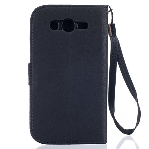 Coque Etui pour Galaxy Grand Neo Plus, Galaxy Grand Neo Plus Coque Painted Relief Portefeuille PU Cuir Etui Folio Housse, Galaxy Grand Neo Plus Leather Case Wallet Flip Cover Protector, Ukayfe Etui de Relief Fleur-Noir