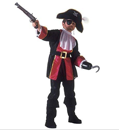 Kapitän Kostüm Piraten Kinder Hook - Widmann wdm38836-Kostüm für Kinder Pirat Captain Hook (128cm/5-7Jahre), Schwarz, XXS