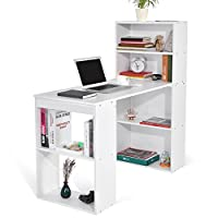 ADD ONE +1 Student PC Workstation Laptop Table and Storage Unit Combo Ideal Desktop for any Size Computers and Laptops, White