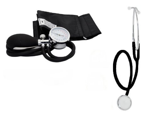Blutdruckmessgerät Blutdruck Messgerät Sphygmomanometer + Stethoskope Farbe Schwarz Ampri