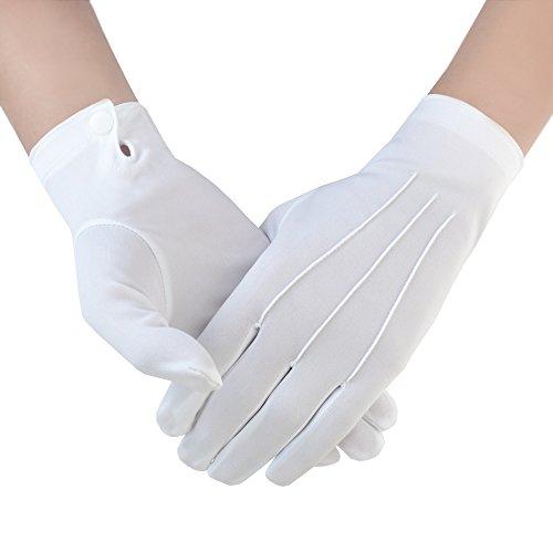 JISEN Herren Police Formale Tuxedo Honor Guard Parade mit Snap weiß Nylon Handschuhe 26cm Gr. onesize, 1 Pairs - Guard Snap