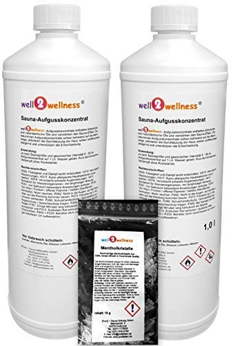 Saunaaufguss Set 2 x 1,0 l von well2wellness® + gratis 10g Mentholkristalle - freie Wahl aus über 180 Saunadüften