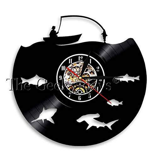YLNEW Behalten Sie Ruhe Und Gehen Sie Fischen-Fischer-Lustiges Zitat-Wanduhr-Fluss-Fischen-Vinylaufzeichnungs-Wanduhr-Fischen-Liebhaber-Grafik-Uhr-Geschenk