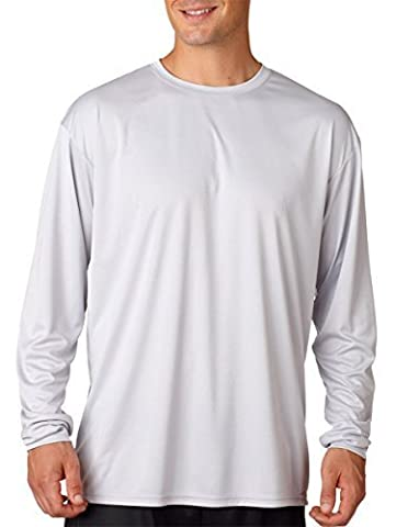 A4 Men's Birdseye Mesh Crew Long Sleeve Tee, Silver, XX-Large