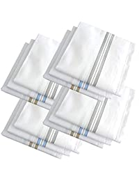 Nature Line Men's Formal Cotton Luxury Handkerchief color White with colorful stripes (42 x 42 CM) Pack of 12