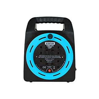 Status 15 m 13 A 2 Socket Outlet Cable Reel - Light Blue