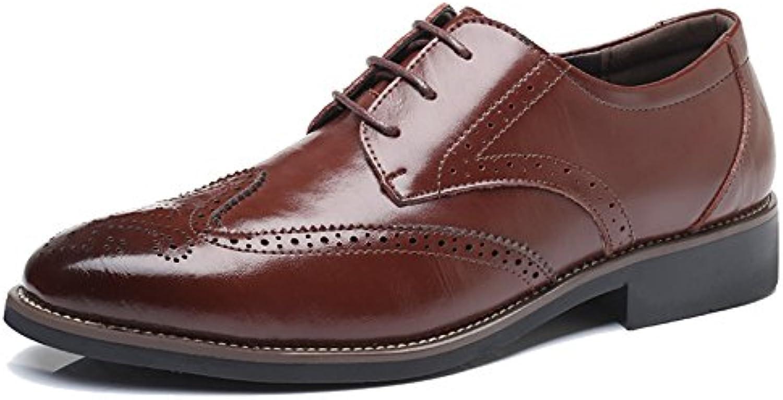 MERRYHE Zapatos Formales De Negocios Para Hombres Zapatos De Cuero Real Brogue Zapatos Clásicos De Moda Derby...