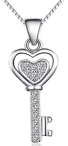 SaySure - Real 925 Sterling Silver Crystal Key Pendant