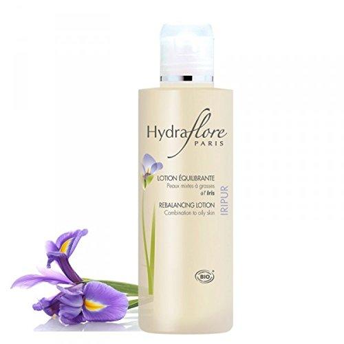 Lotion Equilibrante Visage Bio Iripur d'Hydraflore pour peaux mixtes à grasses à l'extrait d'Iris + AHA + zinc PCA. Resserre les pores et favorise le renouvellement cellulaire. Pour une peau tonifiée, nette et apaisée. 200Ml
