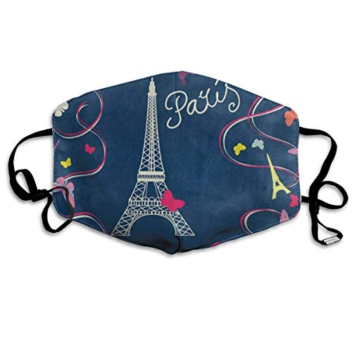Butterfly Beanie Baby (Dustproof Anti-Bacterial Washable Reusable Paris Eiffel Tower Butterfly Mouth Cover Mask Respirator Germ Protective Breath Healthy Safety Warm Windproof Mask Design14)