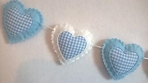 Kinderzimmer Schlafzimmer Baby Zimmer Wand Dekoration Blau und Weiß Gingan Herz Wand Deko Wimpel Girlande Rahmen Junge 1,2 Meter