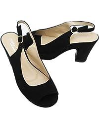 Scarpe Donna Aperte Eleganti estive in Materiale Scamosciato Cinturino sul  Retro Colore Nero Linea Comoda 36 fc8cb1117e4