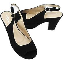Cinturino Materiale Donna Eleganti Estive Aperte Retro Scamosciato Linea Scarpe In 36 Nero Comoda Colore Sul xqwFa0Xpd