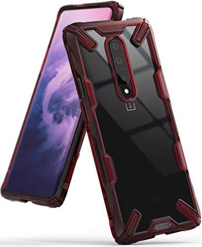 Ringke Fusion-X Gestaltet für OnePlus 7 Pro Hülle, Transparent Rückseite Renovierter TPU Rahmen Bumper Stoßfänger Doppelter Schutz Case für OnePlus 7 Pro (2019) - Ruby Red