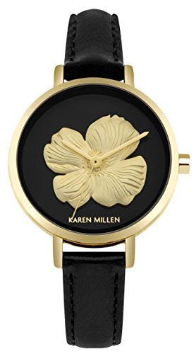 Karen Millen Womens Analogue Classic Quartz Watch with Leather Strap KM126B
