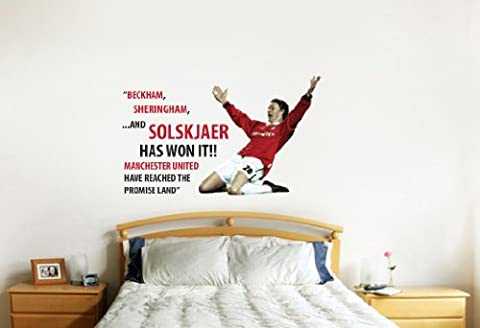 Manchester United 99Champions League Kommentar Zitat Wand Aufkleber Aufkleber Fußball Kunstdruck für Home Schlafzimmer Wandbild (rot)