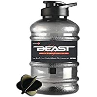 Tara Beast Sports Unbreakable Freezer Safe Gallon Bottle 1.5 L with Mixer Ball and Strainer (Black)