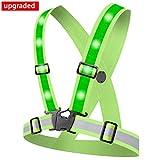 Alviller LED Reflektorweste mit 12 LED Lichter, Reflektierende Weste Warnweste Sicherheitsweste mit 360° High Reflector, Einstellbar für Laufen Outdoor Sports