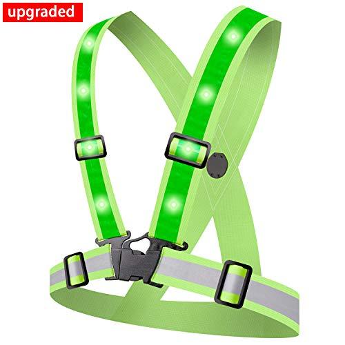 Alviller LED Reflektorweste mit 12 LED Lichter,Sicherheitsweste High Reflector Reflektierende Weste Warnweste für Laufen Straßenbauarbeiten