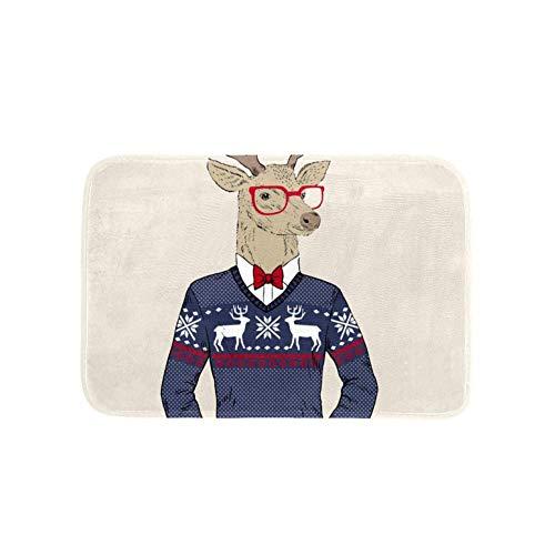 TIZORAX Christmas Deer Head Hombre Área Alfombra Alfombra Alfombrilla para Cocina Dormitorio Living...
