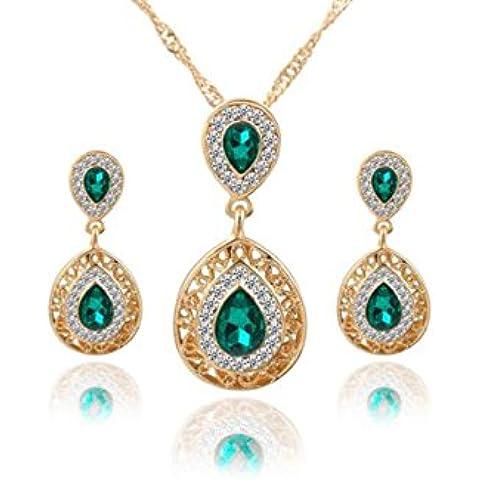 Glitz Fashion Wedding Set di gioielli placcato oro collana con ciondolo e (Wedding Pearl Tema)