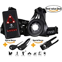 RUNNING LIGHTS LED KIT: Chest torch + Reflective armband + Safety shoes light clips. USB Rechargeable, Waterproof & Super Bright Body Lamp. Best night equipment for Runners, Outdoor Sports & Kids