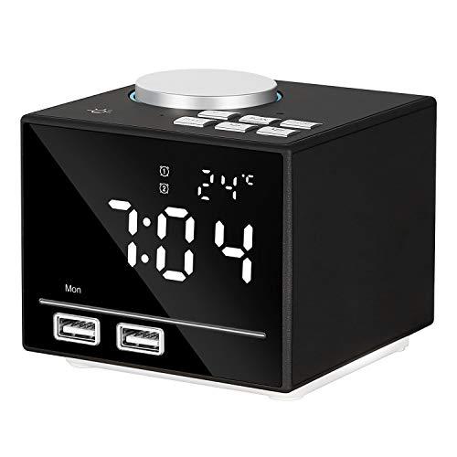 ONEVER K3 Multi-Funktions-Smart-Wecker Bluetooth-Lautsprecher mit LED-Nachttischlampe FM Radio Snooze-Funktion Indoor Dual USB Port Ladegerät AUX-IN K3 Mp3