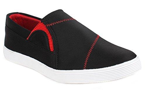 usure loafer canvas partie de chaussures pour hommes glissent sur la conduite pantoufle chaussures de sport noir et rouge