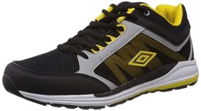 Umbro Men's Torun Black and Yellow Mesh Sport Running Shoes - 8 UK