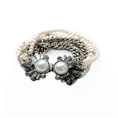 Romantisches Statement Armband mit Perlensträngen und Schmucksteinen von Xelibri, 19cm