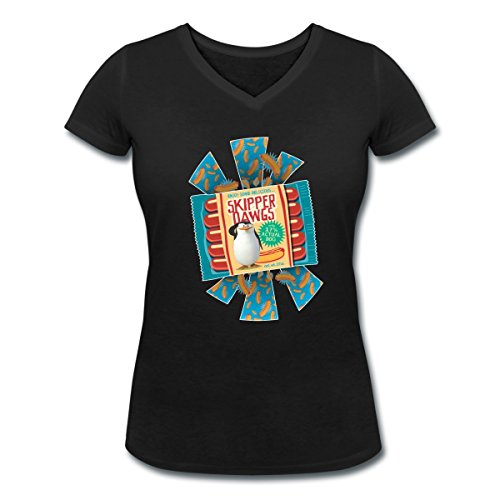 DreamWorks Les Pingouins De Madagascar Commandant T-shirt col V Femme de Spreadshirt® Noir