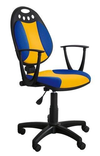 Best For Office Moderner Bürostuhl Höhenverstellung Schreibtischstuhl MAJA Modell (BLAU-GELB)