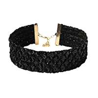 Bigood Women's Chic Wide Sequins Collar Necklaces Chocker Jewelry Accessories Black