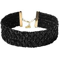 Bigood Women's Chic Wide Sequins Collar Necklaces Chocker Jewelry Accessories