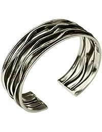 SILBERMOOS Damen Armreif Armspange geschwärzt mit Längsstruktur gefaltet massiv 925 Sterling Silber
