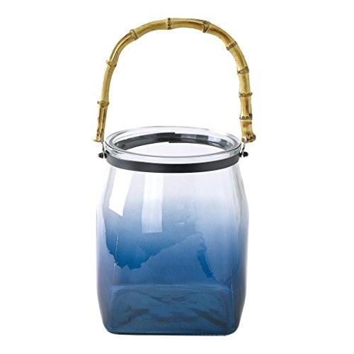 Blue Square Vasen (Zeit Concept Enrich Glas Blume Vase-Home Decor, Abendessen Tisch Mittelpunkt Blue - Large Square Bottom)
