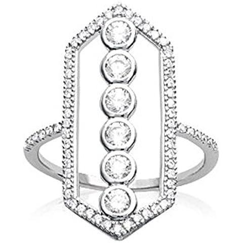 Anello in argento 925/000rhodie e ossido di zirconio–Losanga Navajo