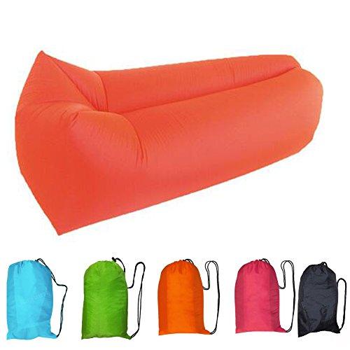 Ohlees® Tragbare aufblasbare Air Sofa Couch Nylon Stoff Schlafen Laybag Camping Wandern Bett Lazy Bag Air Chair Aufblasbare Lounge Beach (Orange)