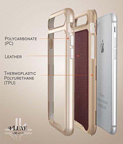 iPhone 7Leder Fall, VENA [vluxe] [Carbon Faser Leder Rückseite | metallisierten Button] Slim Schutzhülle für Apple iPhone 7(11,9cm) (schwarz/Space Gray) Burgund Rot / Gold