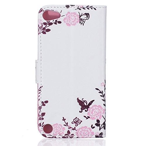 Coque pour iPhone iPod Touch 5, Etui pour iPod Touch 6, ISAKEN Peinture Style Soulagement de la couleur PU Cuir Flip Magnétique Portefeuille Etui Housse de Protection Coque Étui Case Cover avec Stand  Papillon de fleurs