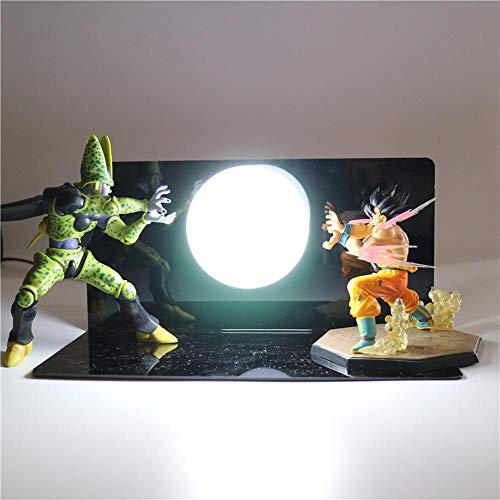 Dragon Ball Z Super Saiyan Lámpara de mesa Iluminación decorativa Anime Lámpara DIY Figura de acción Lámpara de mesa Niños Niños Juguete de luz LED, Blanco frío