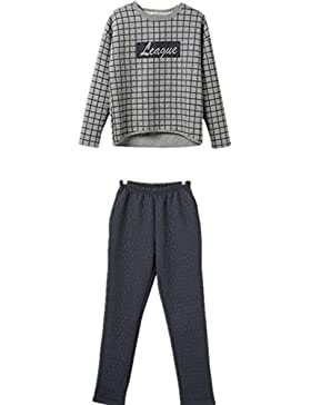 DMMSS Ladies turno collo cotone tessuto Plaid pigiama Set , xl