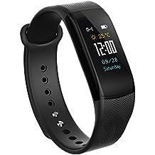 Reloj inteligente–Pulsera inteligente podómetro Muñequera fitness Rastreador de actividad Cardio etanche podometre Mujer Hombre Niños para Samsung iPhone Android Sport Natación–se vende por udenx, color negro